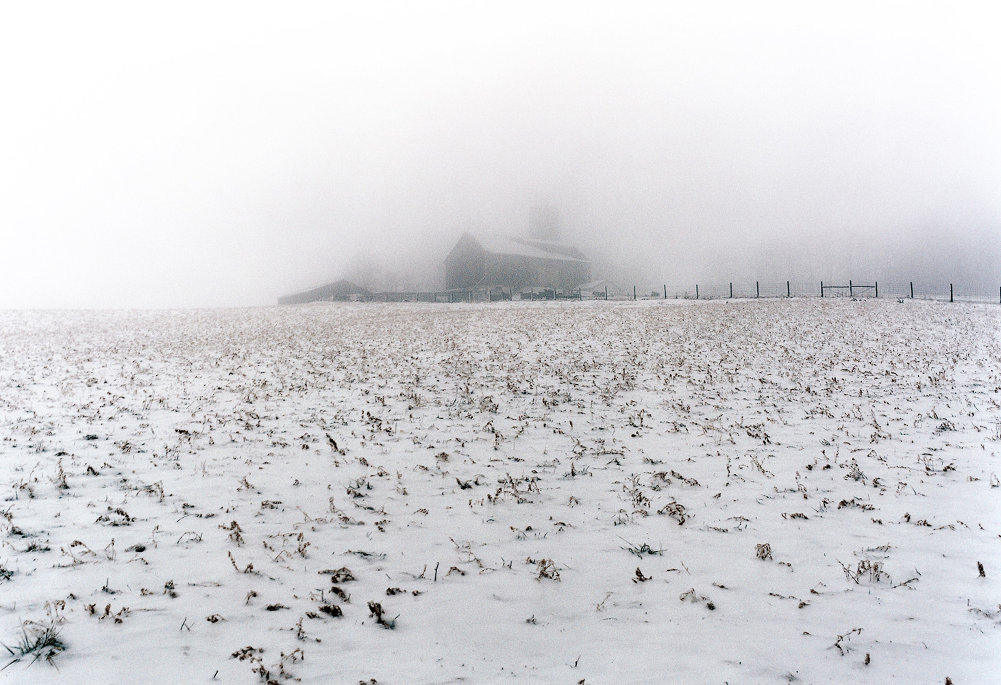 Landscape Photography winter farm and fog